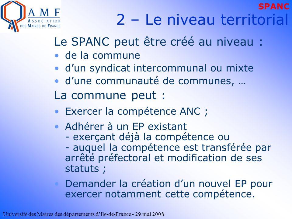 Université des Maires des départements dIle-de-France - 29 mai 2008 2 – Le niveau territorial Le SPANC peut être créé au niveau : de la commune dun sy