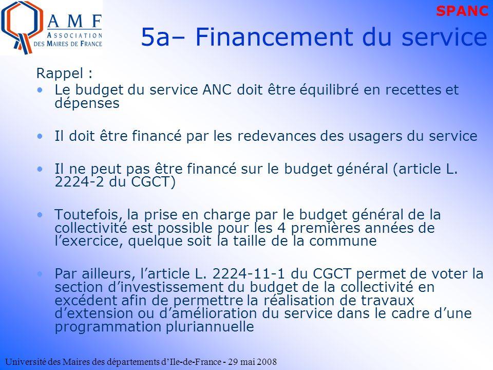 Université des Maires des départements dIle-de-France - 29 mai 2008 5a– Financement du service Rappel : Le budget du service ANC doit être équilibré e