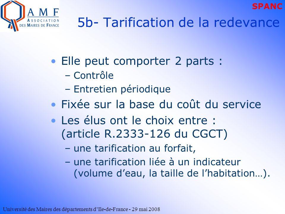 Université des Maires des départements dIle-de-France - 29 mai 2008 5b- Tarification de la redevance Elle peut comporter 2 parts : –Contrôle –Entretie