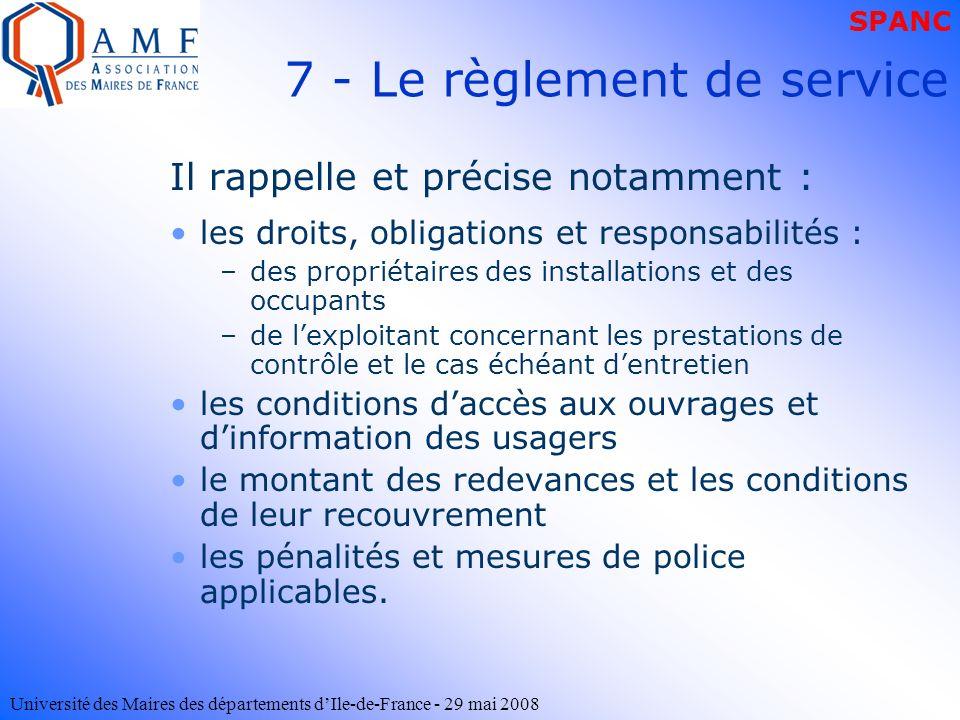Université des Maires des départements dIle-de-France - 29 mai 2008 Il rappelle et précise notamment : les droits, obligations et responsabilités : –d