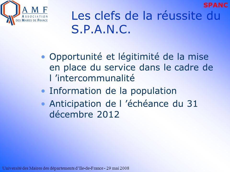 Université des Maires des départements dIle-de-France - 29 mai 2008 Les clefs de la réussite du S.P.A.N.C. Opportunité et légitimité de la mise en pla