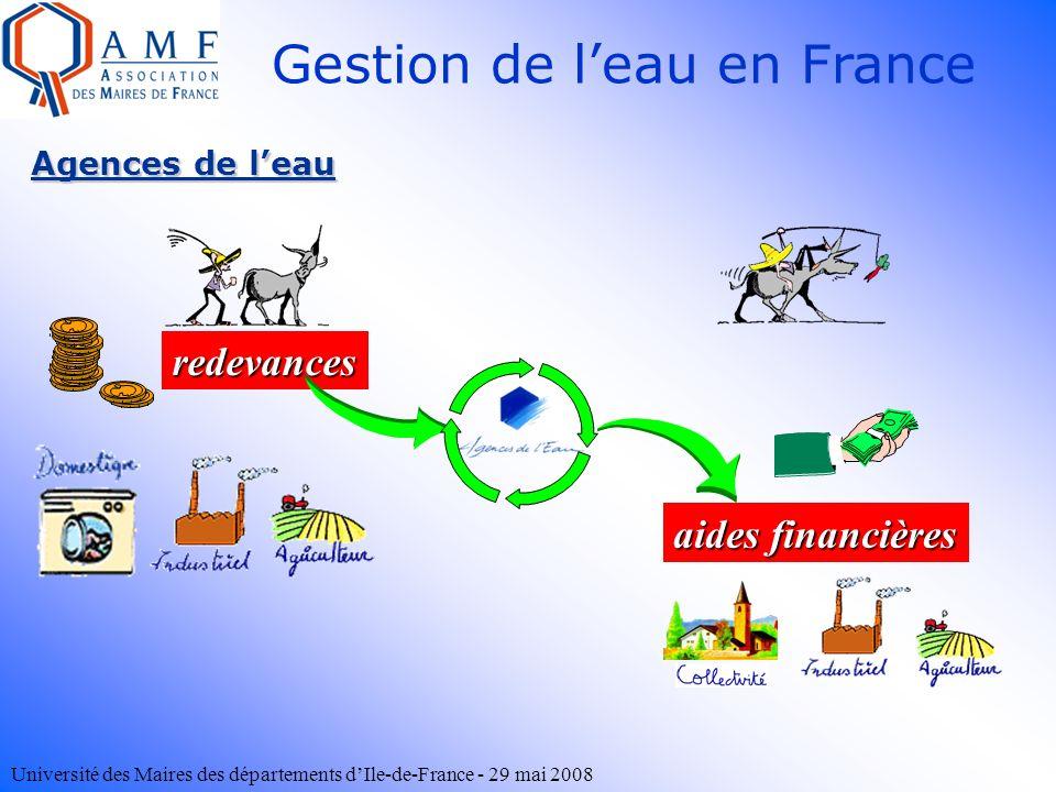 Université des Maires des départements dIle-de-France - 29 mai 2008 Gestion de leau en France Agences de leau redevances aides financières