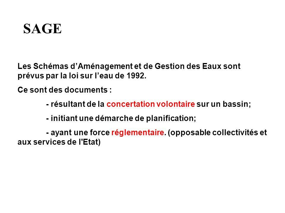 SAGE Les Schémas dAménagement et de Gestion des Eaux sont prévus par la loi sur leau de 1992. Ce sont des documents : - résultant de la concertation v