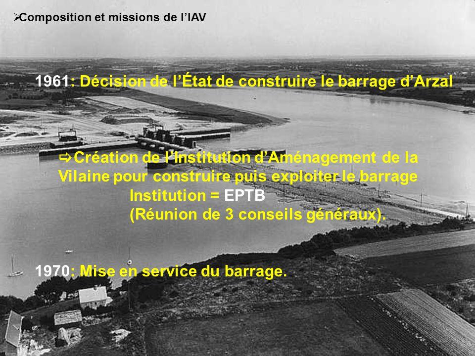 Présentation du barrage dArzal Bassin de la Vilaine: 11 000 Km², 6 départements, 500 communes 1961: décision de la création du barrage par lEtat et création de lIAV 1970 : mise en service du barrage