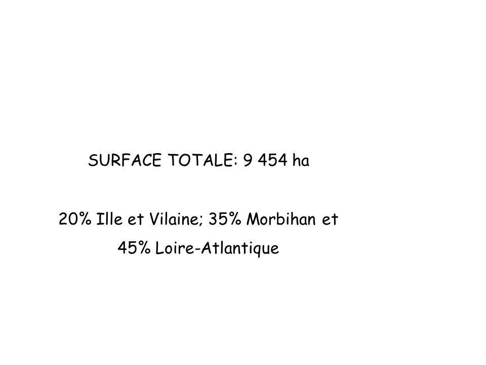 planplan SURFACE TOTALE: 9 454 ha 20% Ille et Vilaine; 35% Morbihan et 45% Loire-Atlantique