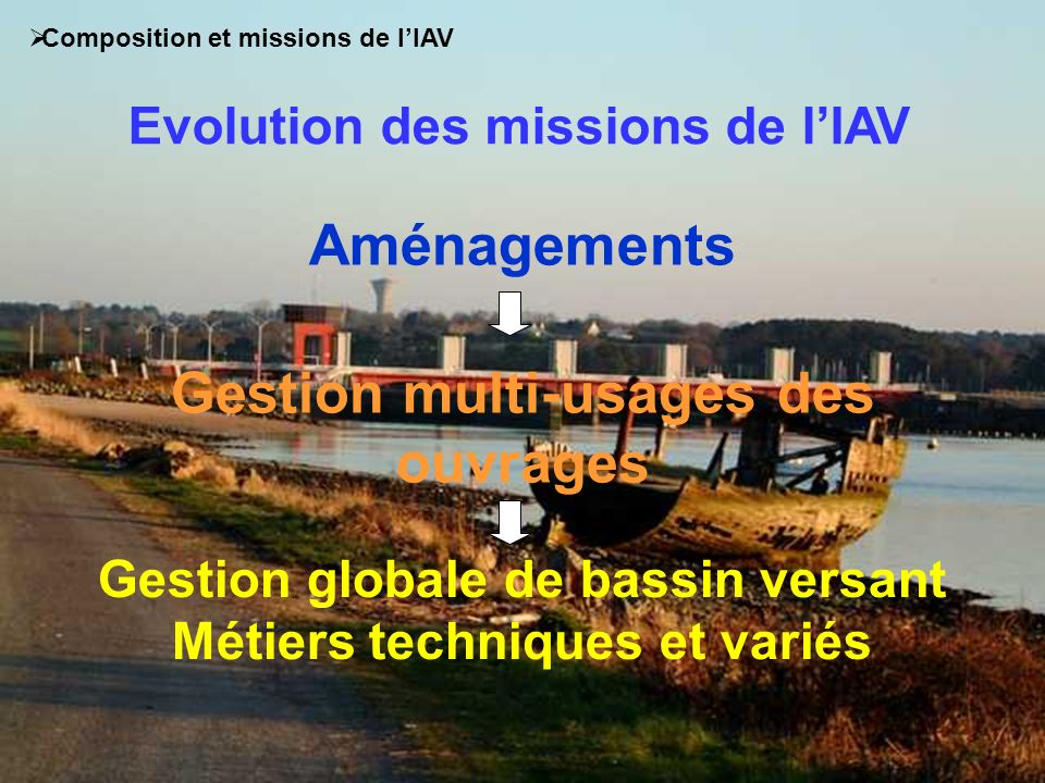 Aménagements Gestion multi-usages des ouvrages Gestion globale de bassin versant Métiers techniques et variés Evolution des missions de lIAV Compositi