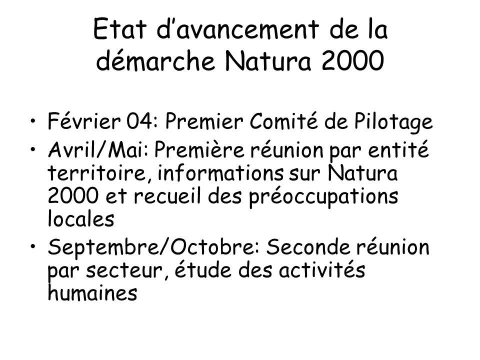 Etat davancement de la démarche Natura 2000 Février 04: Premier Comité de Pilotage Avril/Mai: Première réunion par entité territoire, informations sur