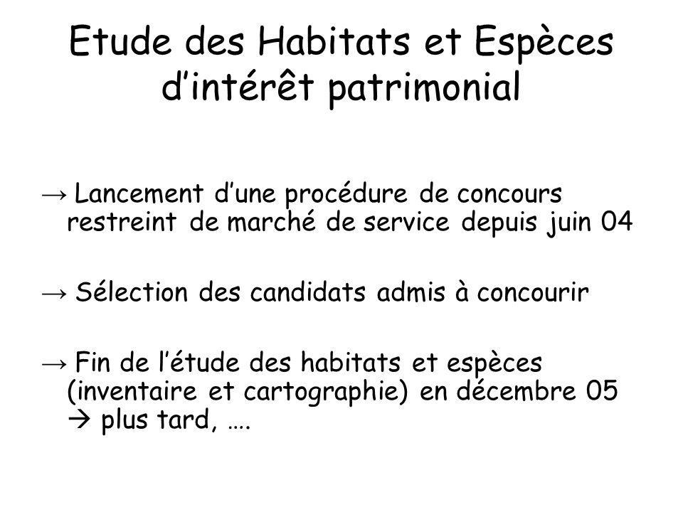 Etude des Habitats et Espèces dintérêt patrimonial Lancement dune procédure de concours restreint de marché de service depuis juin 04 Sélection des ca