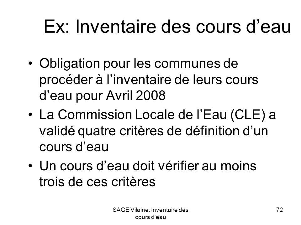 SAGE Vilaine: Inventaire des cours d'eau 72 Ex: Inventaire des cours deau Obligation pour les communes de procéder à linventaire de leurs cours deau p