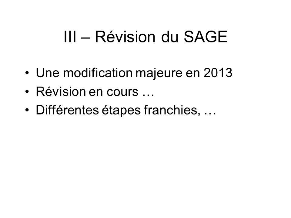 III – Révision du SAGE Une modification majeure en 2013 Révision en cours … Différentes étapes franchies, …