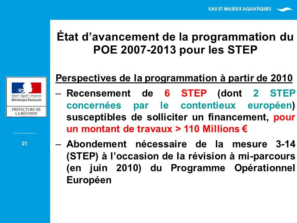 EAU ET MILIEUX AQUATIQUES 21 Perspectives de la programmation à partir de 2010 –Recensement de 6 STEP (dont 2 STEP concernées par le contentieux européen) susceptibles de solliciter un financement, pour un montant de travaux > 110 Millions –Abondement nécessaire de la mesure 3-14 (STEP) à loccasion de la révision à mi-parcours (en juin 2010) du Programme Opérationnel Européen État davancement de la programmation du POE 2007-2013 pour les STEP