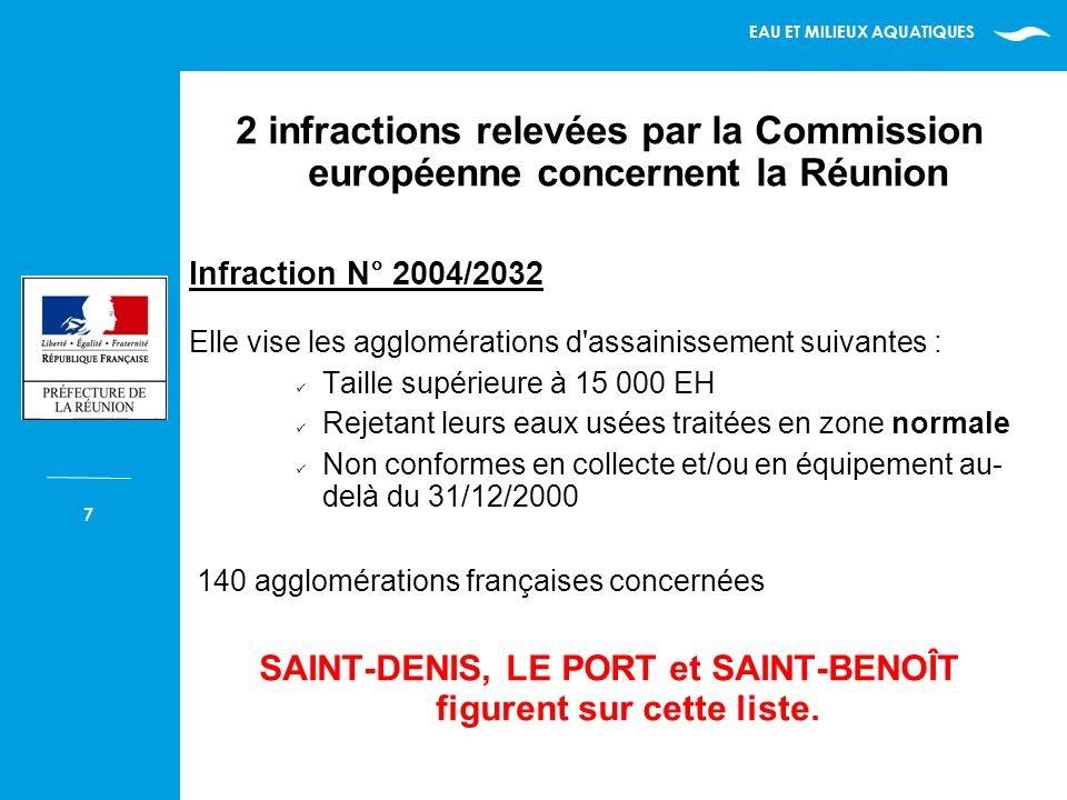 EAU ET MILIEUX AQUATIQUES 7 2 infractions relevées par la Commission européenne concernent la Réunion Infraction N° 2004/2032 Elle vise les agglomérations d assainissement suivantes : Taille supérieure à 15 000 EH Rejetant leurs eaux usées traitées en zone normale Non conformes en collecte et/ou en équipement au- delà du 31/12/2000 140 agglomérations françaises concernées SAINT-DENIS, LE PORT et SAINT-BENOÎT figurent sur cette liste.