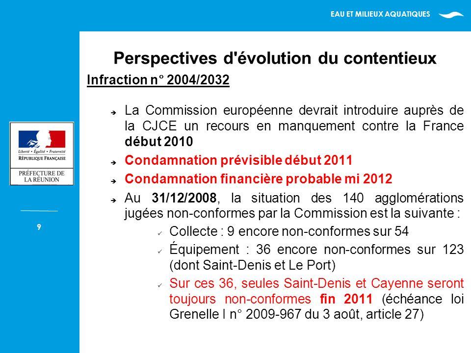 EAU ET MILIEUX AQUATIQUES 10 Infraction n° 2006/2128 Forte probabilité que la Commission européenne introduise auprès de la CJCE courant 2010 un recours en manquement contre la France Condamnation prévisible mi 2011.