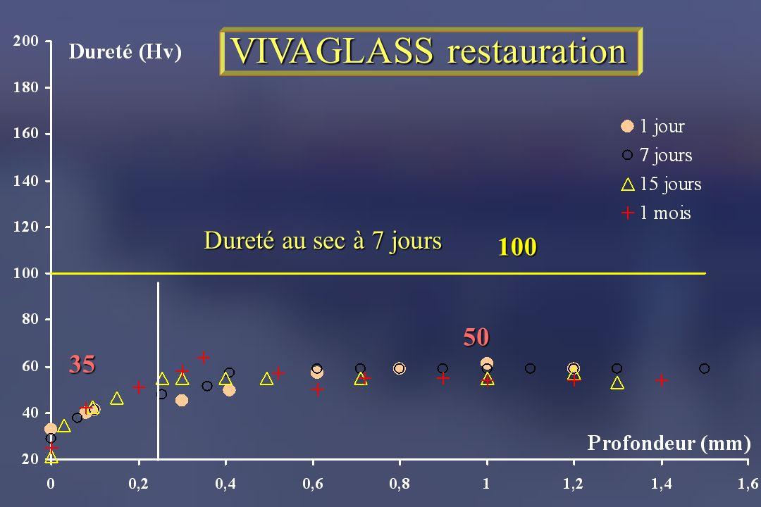 VIVAGLASS restauration 35 50 100 Dureté au sec à 7 jours