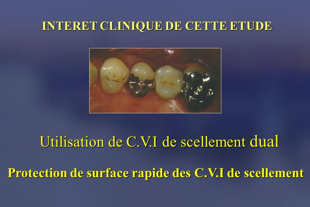 INTERET CLINIQUE DE CETTE ETUDE Utilisation de C.V.I de scellement dual Protection de surface rapide des C.V.I de scellement