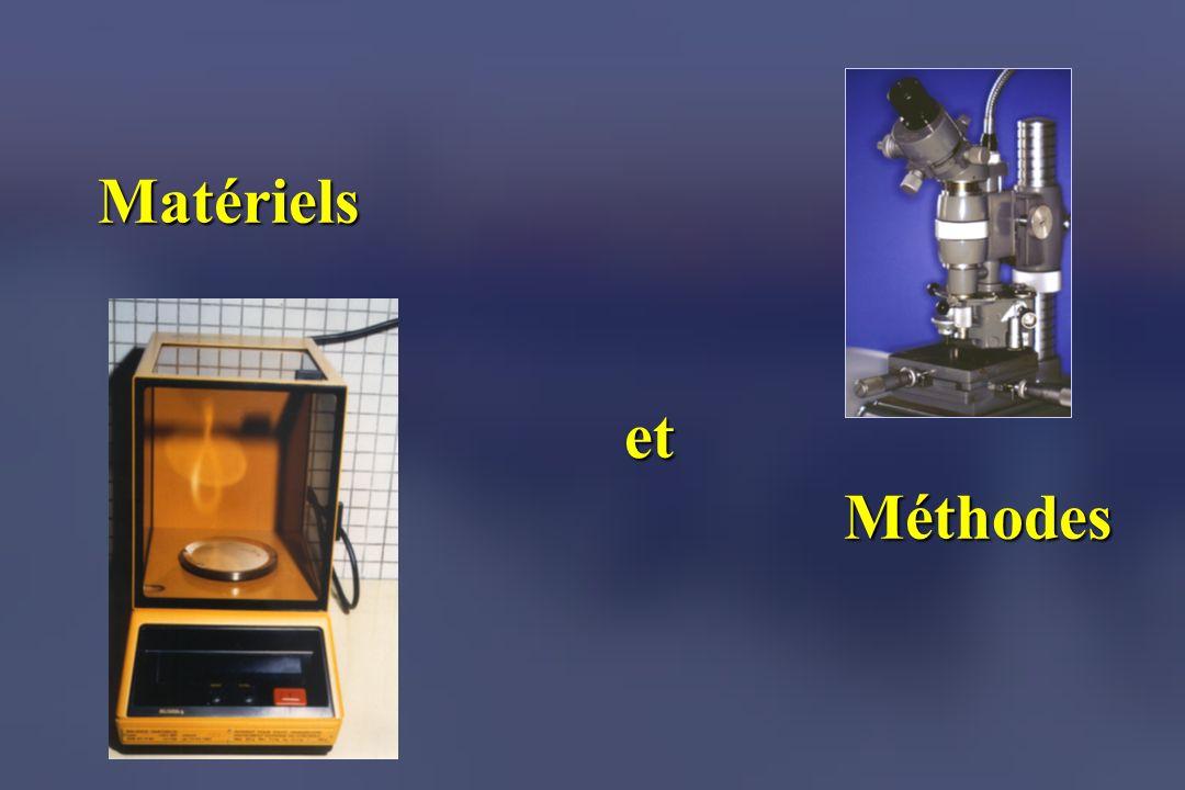 MATERIELS Balance de précision (SARTORIUS 1207 MP) Microduromètre (Hauser 249A ) Laboratoire Odontologique de Recherche Université de Bordeaux 2 Laboratoire SERMEC Faculté des Sciences Saint-Jérôme Université dAix-Marseille 3 LABORATOIRES