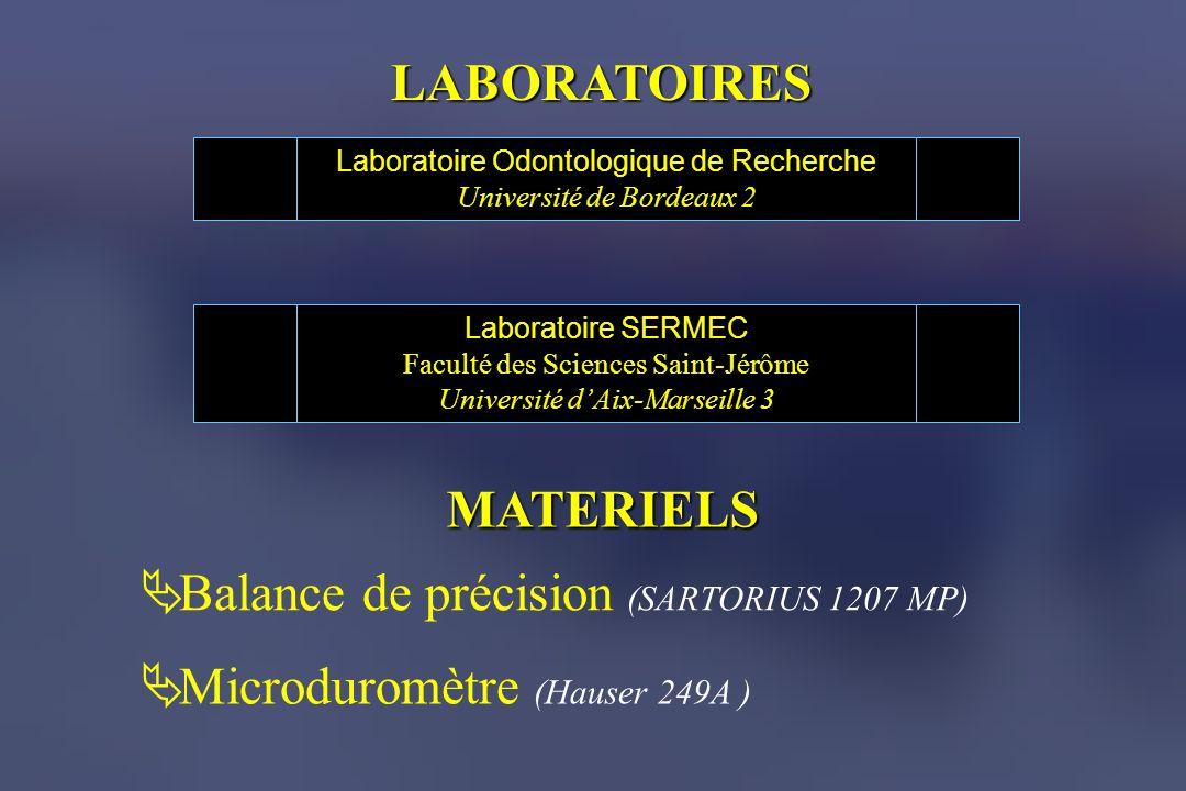 MATERIELS Balance de précision (SARTORIUS 1207 MP) Microduromètre (Hauser 249A ) Laboratoire Odontologique de Recherche Université de Bordeaux 2 Labor