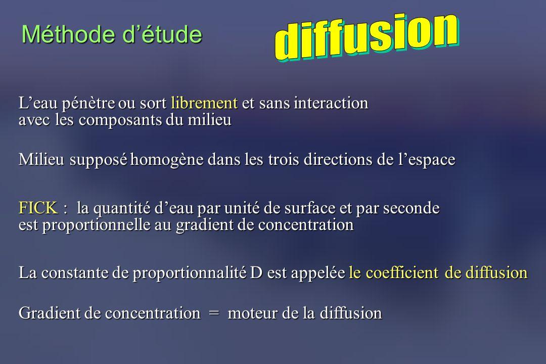 Leau pénètre ou sort librement et sans interaction avec les composants du milieu Milieu supposé homogène dans les trois directions de lespace FICK : l