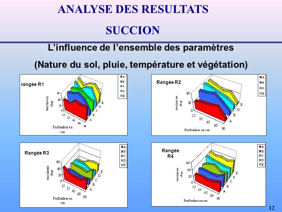 12 ANALYSE DES RESULTATS SUCCION Linfluence de lensemble des paramètres (Nature du sol, pluie, température et végétation) rangée R1 Rangée R2 Rangée R4 Rangée R3