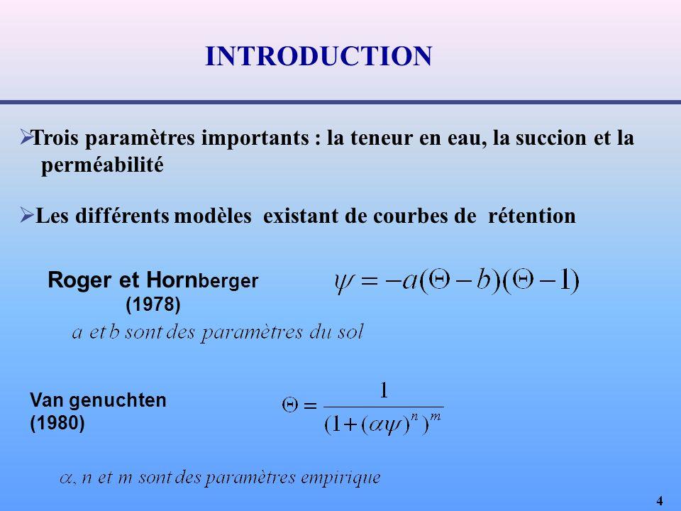 4 Trois paramètres importants : la teneur en eau, la succion et la perméabilité Les différents modèles existant de courbes de rétention Van genuchten (1980) Roger et Horn berger (1978) INTRODUCTION