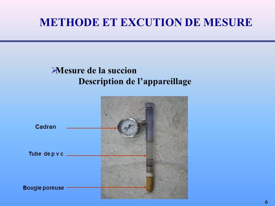 6 Mesure de la succion Description de lappareillage Cadran Tube de p v c Bougie poreuse METHODE ET EXCUTION DE MESURE