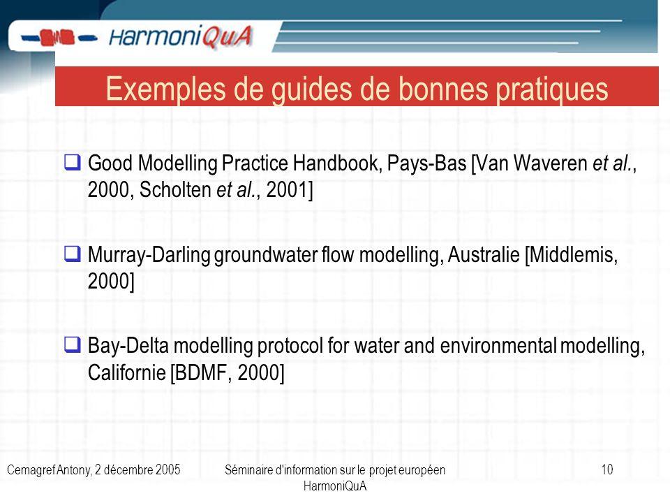Cemagref Antony, 2 décembre 2005Séminaire d information sur le projet européen HarmoniQuA 10 Exemples de guides de bonnes pratiques Good Modelling Practice Handbook, Pays-Bas [Van Waveren et al., 2000, Scholten et al., 2001] Murray-Darling groundwater flow modelling, Australie [Middlemis, 2000] Bay-Delta modelling protocol for water and environmental modelling, Californie [BDMF, 2000]