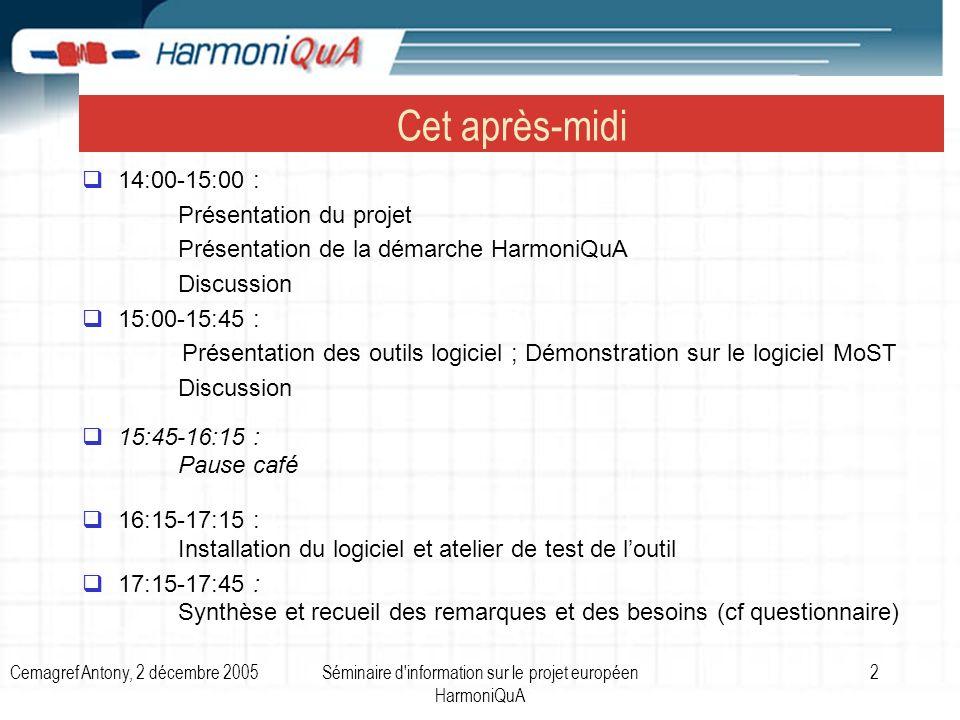 Cemagref Antony, 2 décembre 2005Séminaire d information sur le projet européen HarmoniQuA 2 Cet après-midi 14:00-15:00 : Présentation du projet Présentation de la démarche HarmoniQuA Discussion 15:00-15:45 : Présentation des outils logiciel ; Démonstration sur le logiciel MoST Discussion 15:45-16:15 : Pause café 16:15-17:15 : Installation du logiciel et atelier de test de loutil 17:15-17:45 : Synthèse et recueil des remarques et des besoins (cf questionnaire)