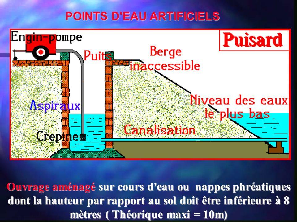 Ouvrage aménagé sur cours d'eau ou nappes phréatiques dont la hauteur par rapport au sol doit être inférieure à 8 mètres ( Théorique maxi = 10m) POINT
