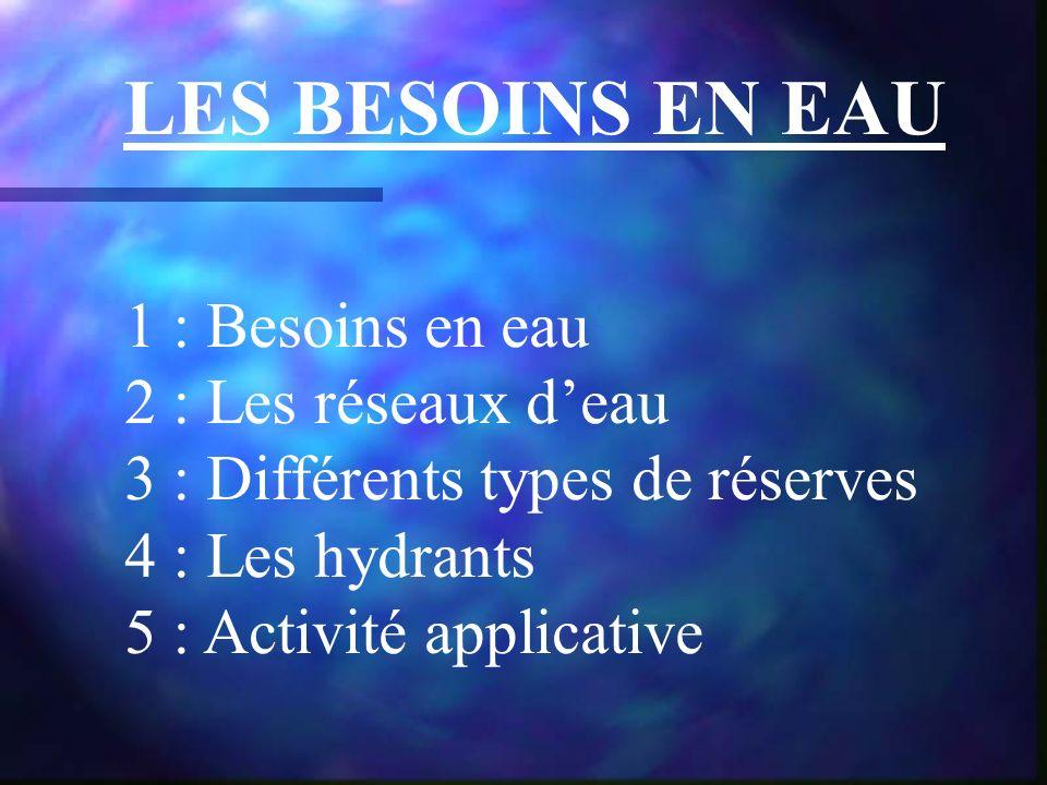 LES BESOINS EN EAU 1 : Besoins en eau 2 : Les réseaux deau 3 : Différents types de réserves 4 : Les hydrants 5 : Activité applicative