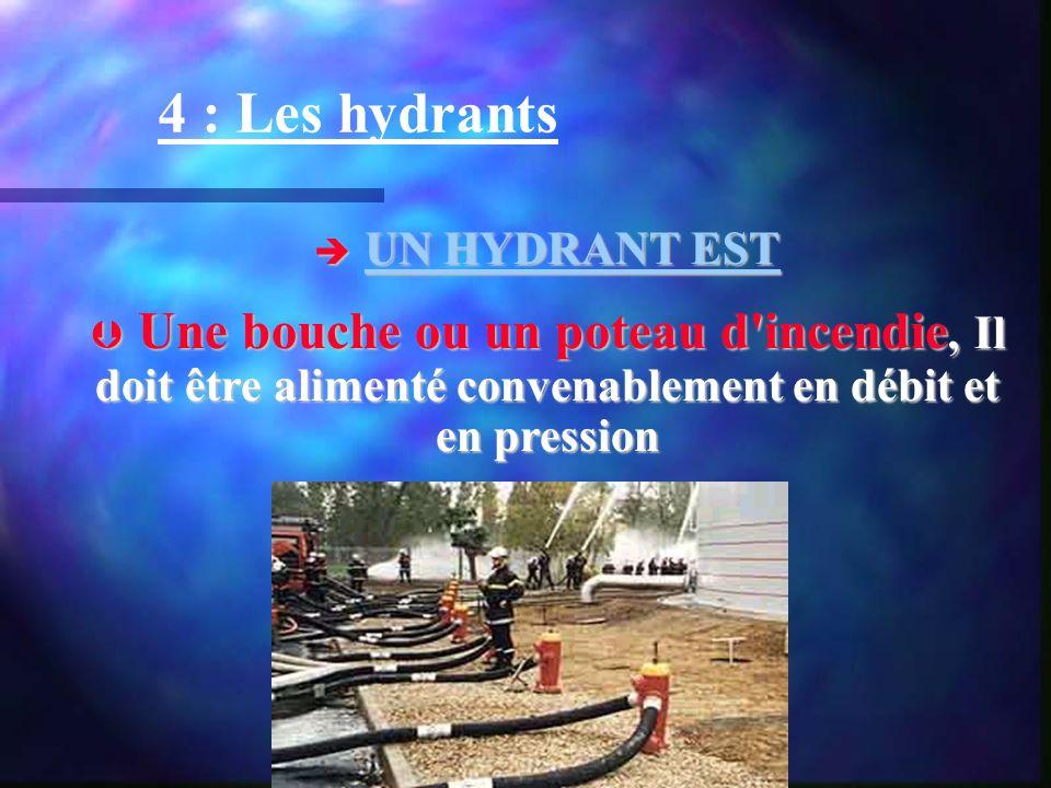 4 : Les hydrants UN HYDRANT EST UN HYDRANT EST Une bouche ou un poteau d'incendie, Il doit être alimenté convenablement en débit et en pression Une bo
