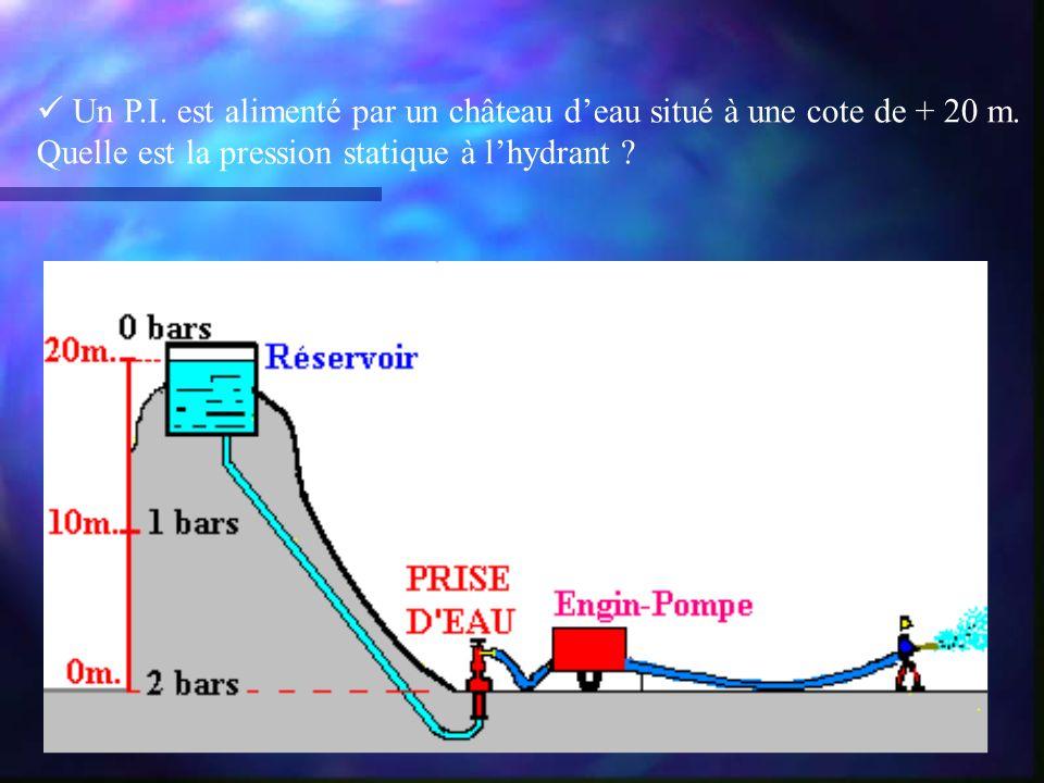 Un P.I. est alimenté par un château deau situé à une cote de + 20 m. Quelle est la pression statique à lhydrant ?