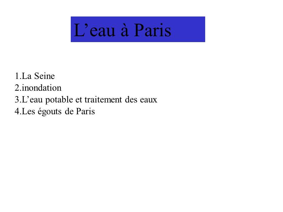 Leau à Paris 4.Les égouts de Paris 1.La Seine 3.Leau potable et traitement des eaux 2.inondation