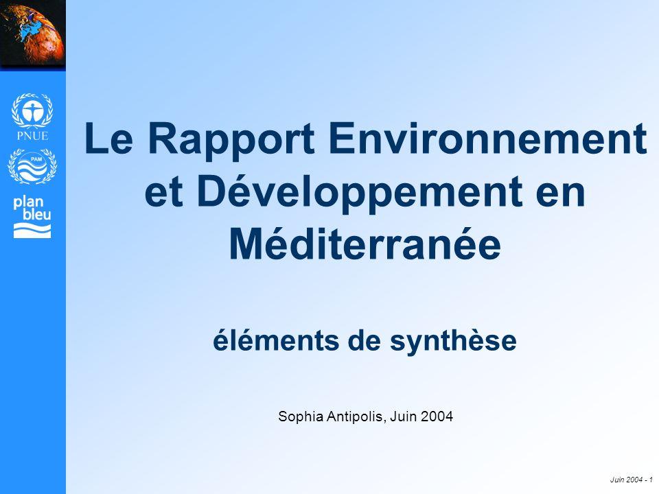 Juin 2004 - 1 Le Rapport Environnement et Développement en Méditerranée éléments de synthèse Sophia Antipolis, Juin 2004