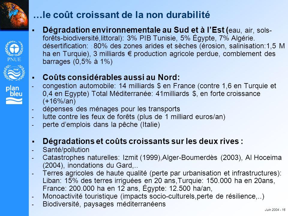 Juin 2004 - 16 …le coût croissant de la non durabilité Dégradation environnementale au Sud et à lEst ( eau, air, sols- forêts-biodiversité,littoral):