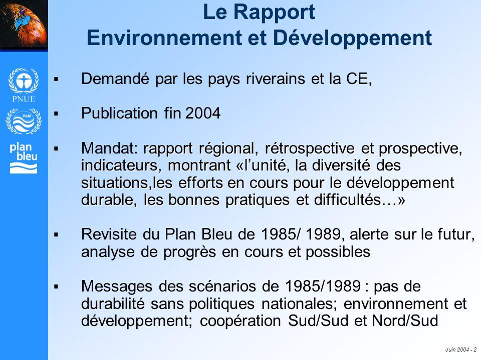 Juin 2004 - 2 Le Rapport Environnement et Développement Demandé par les pays riverains et la CE, Publication fin 2004 rapport régional, rétrospective