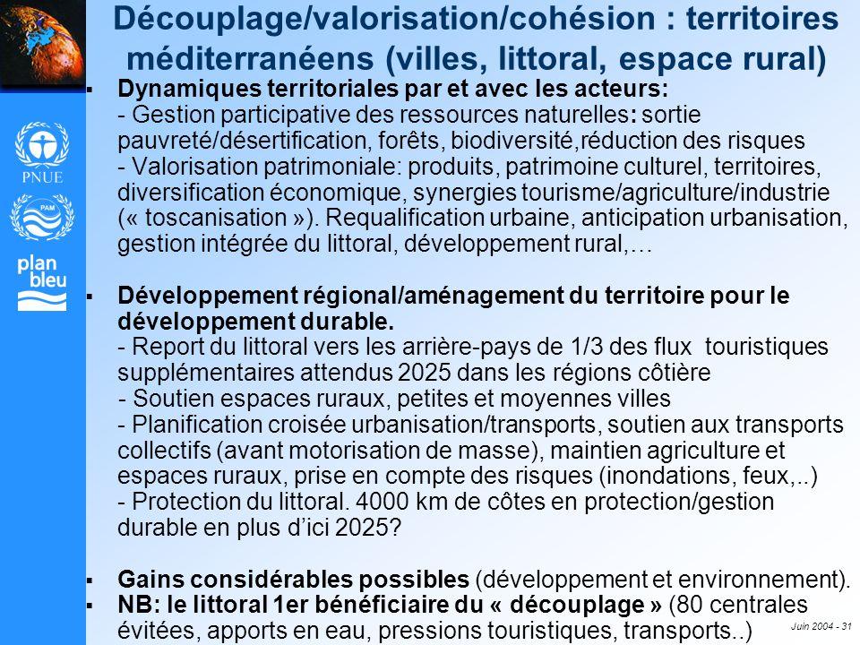 Juin 2004 - 31 Découplage/valorisation/cohésion : territoires méditerranéens (villes, littoral, espace rural) Dynamiques territoriales par et avec les