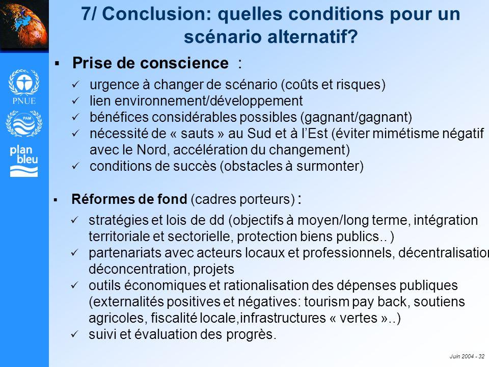Juin 2004 - 32 7/ Conclusion: quelles conditions pour un scénario alternatif? Prise de conscience : urgence à changer de scénario (coûts et risques) l