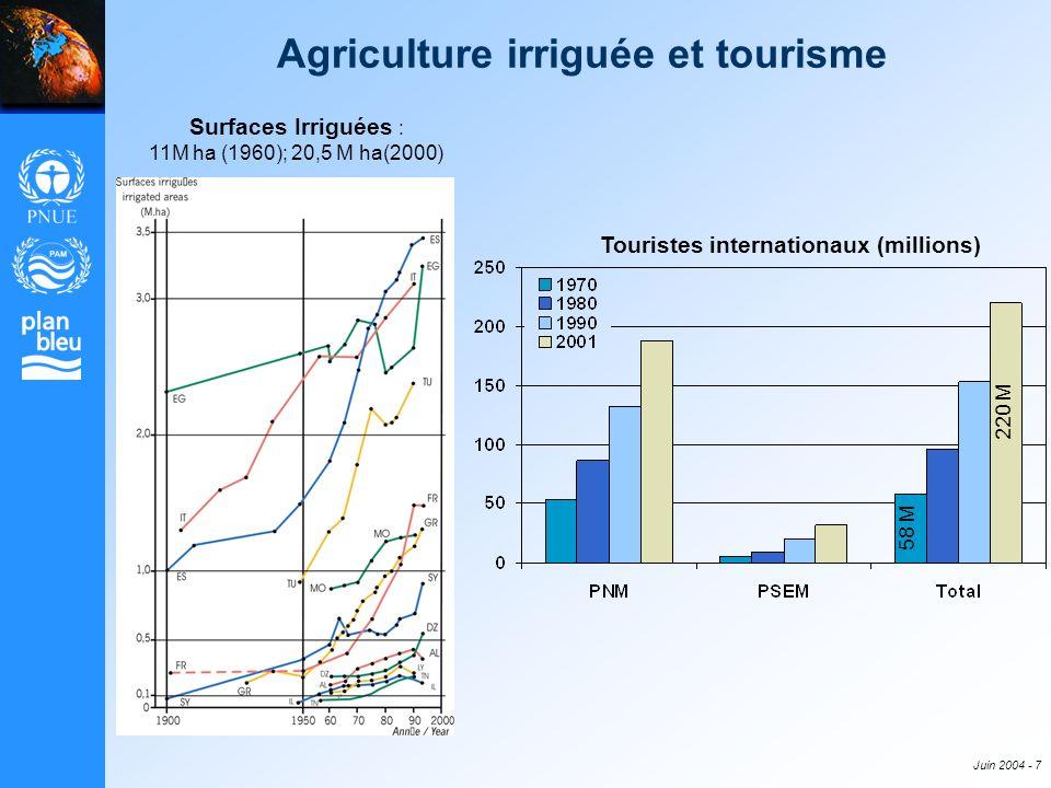 Juin 2004 - 7 Agriculture irriguée et tourisme Surfaces Irriguées : 11M ha (1960); 20,5 M ha(2000) Touristes internationaux (millions) 58 M 220 M
