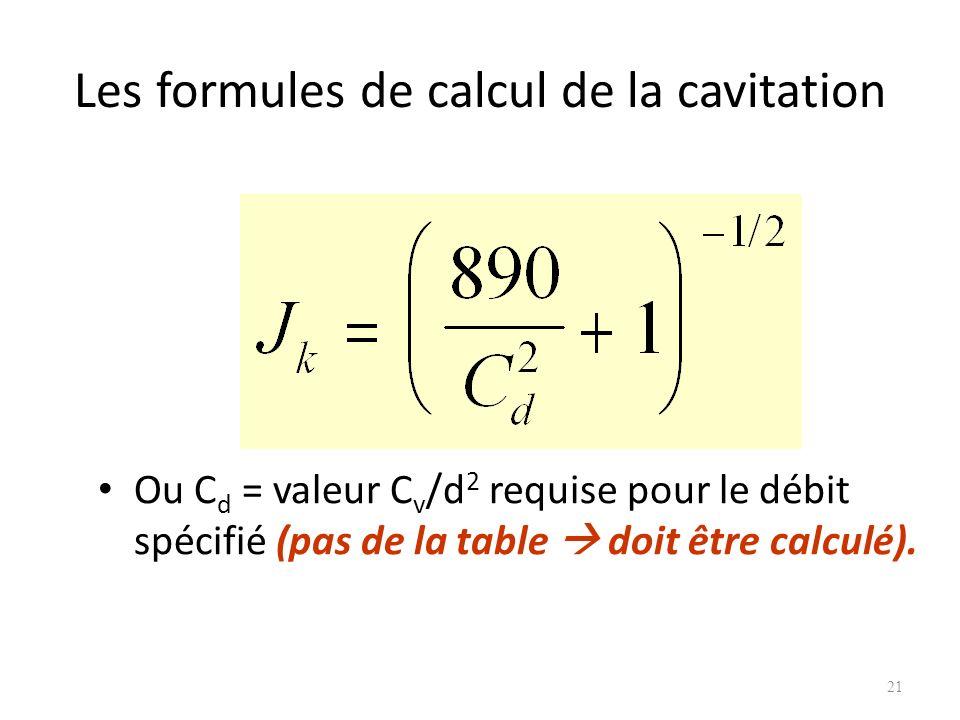 Les formules de calcul de la cavitation Ou C d = valeur C v /d 2 requise pour le débit spécifié (pas de la table doit être calculé). 21