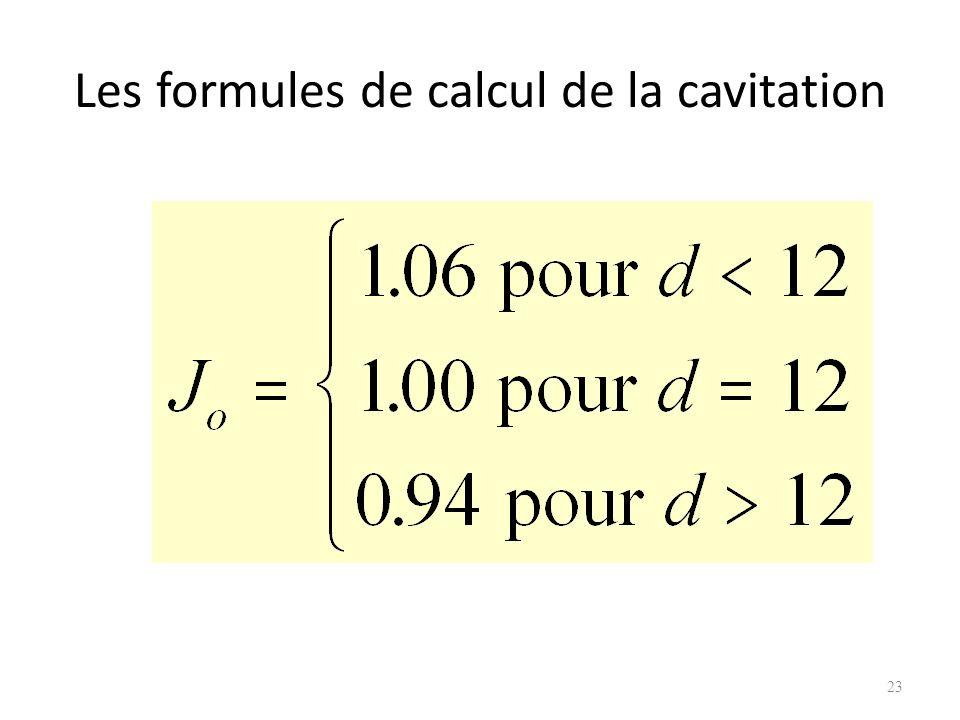 Les formules de calcul de la cavitation 23