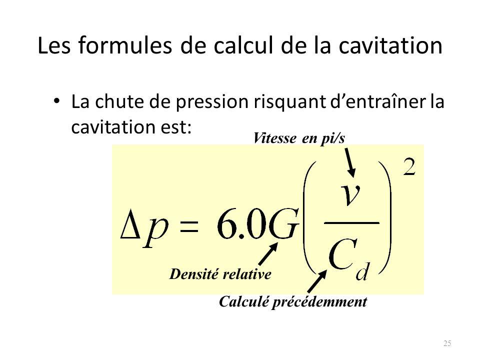 Les formules de calcul de la cavitation La chute de pression risquant dentraîner la cavitation est: 25 Densité relative Vitesse en pi/s Calculé précéd