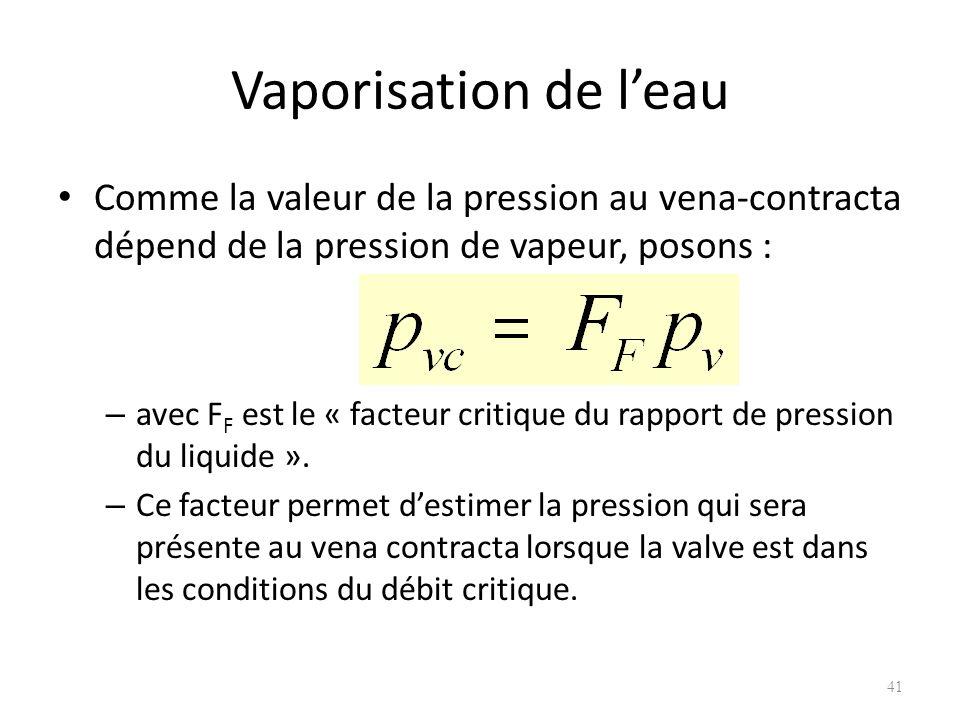 Vaporisation de leau Comme la valeur de la pression au vena-contracta dépend de la pression de vapeur, posons : – avec F F est le « facteur critique d
