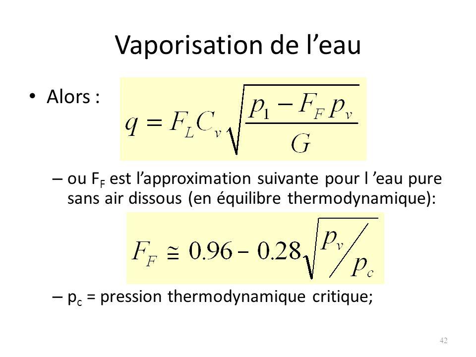 Vaporisation de leau Alors : – ou F F est lapproximation suivante pour l eau pure sans air dissous (en équilibre thermodynamique): – p c = pression th