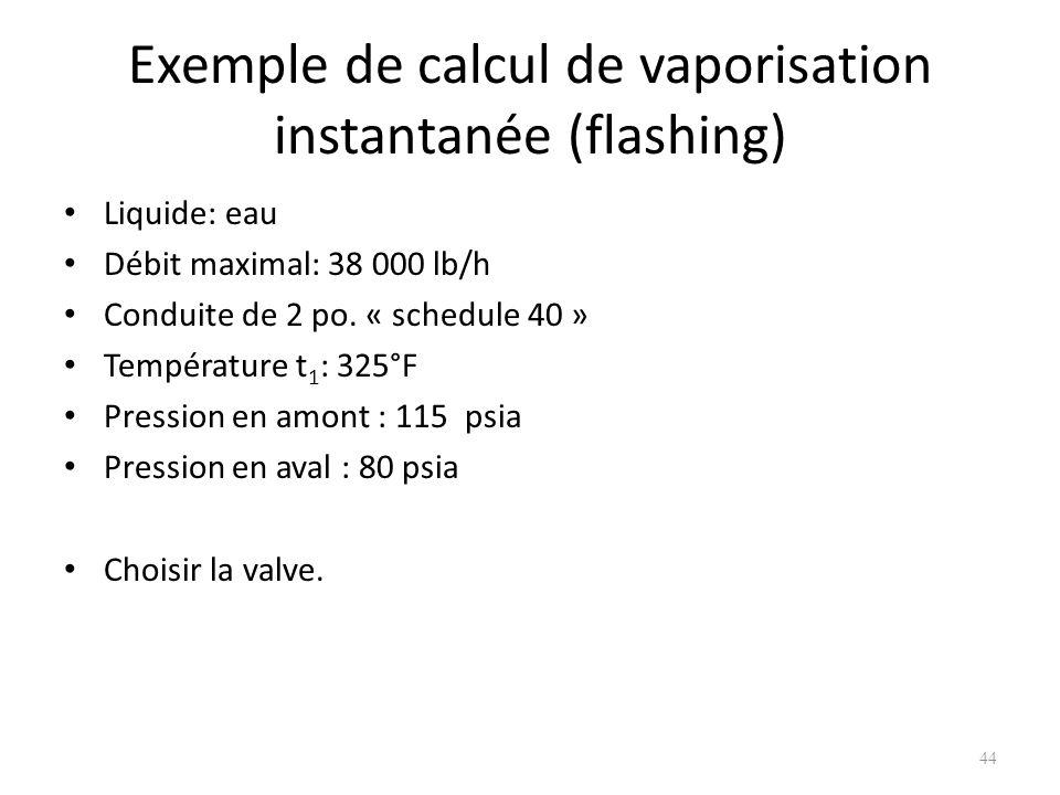 Exemple de calcul de vaporisation instantanée (flashing) Liquide: eau Débit maximal: 38 000 lb/h Conduite de 2 po. « schedule 40 » Température t 1 : 3
