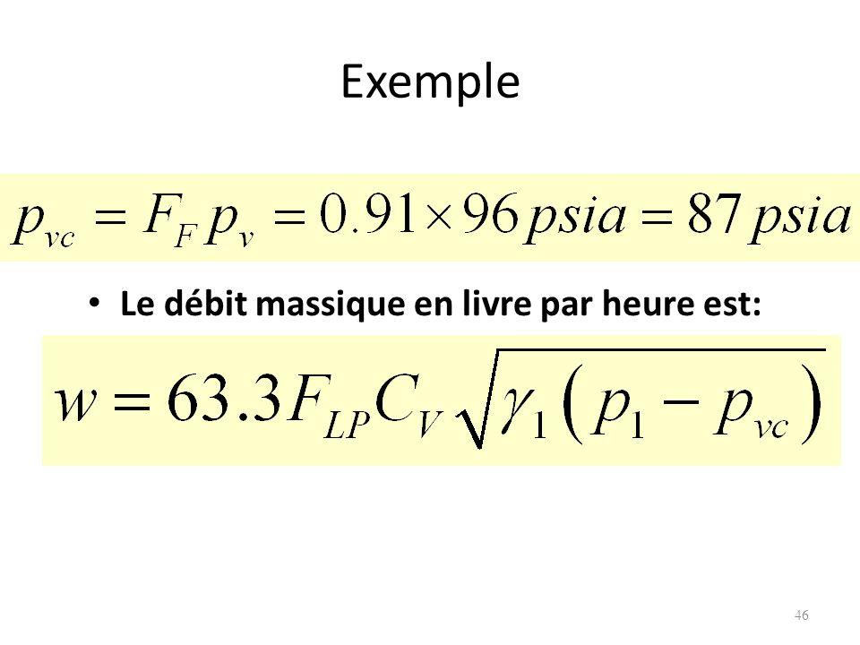 Exemple Le débit massique en livre par heure est: 46