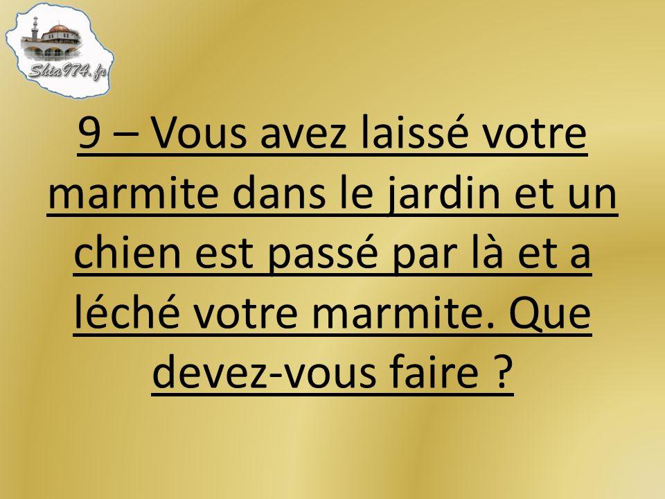 9 – Vous avez laissé votre marmite dans le jardin et un chien est passé par là et a léché votre marmite.