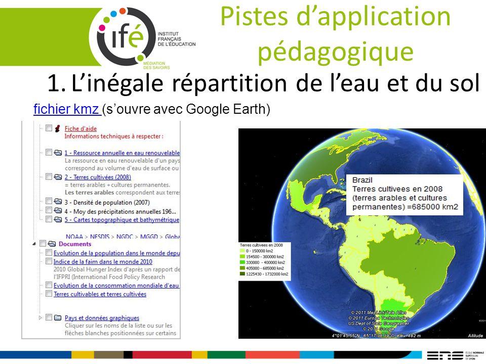 Pistes dapplication pédagogique 1.Linégale répartition de leau et du sol fichier kmz (souvre avec Google Earth)fichier kmz