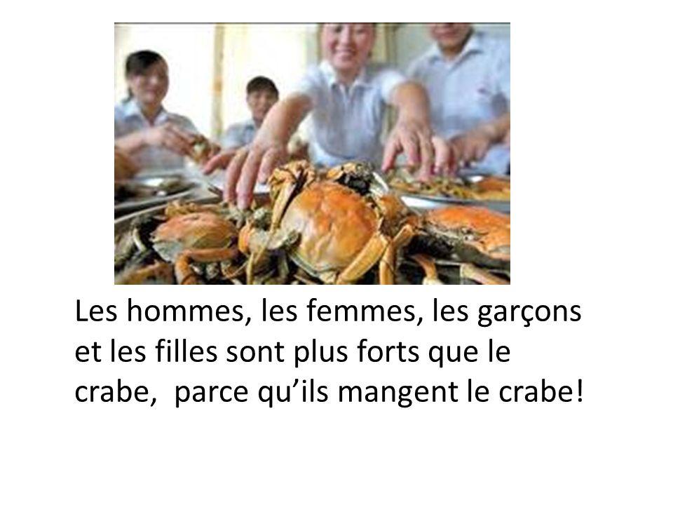 MAIS, le crabe, est-il le plus fort? NON, le crabe nest pas le plus fort. Le crabe est moins fort que….. Les hommes Les femmes, et Les enfants