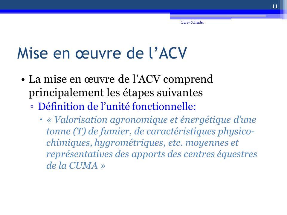 Mise en œuvre de lACV La mise en œuvre de lACV comprend principalement les étapes suivantes Définition de lunité fonctionnelle: « Valorisation agronomique et énergétique dune tonne (T) de fumier, de caractéristiques physico- chimiques, hygrométriques, etc.