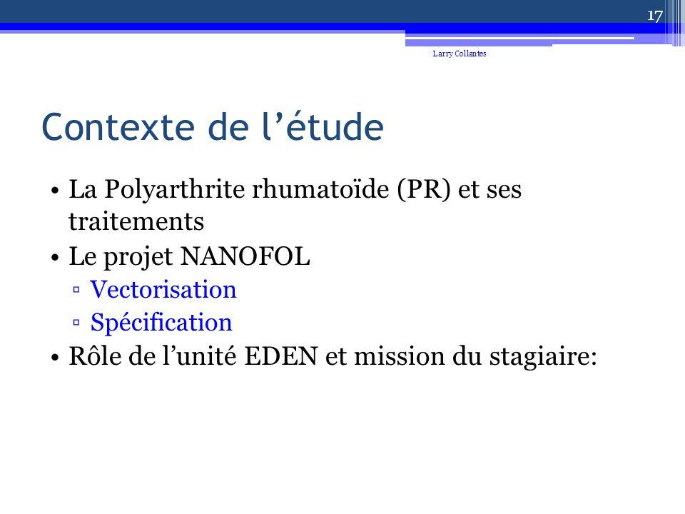 Contexte de létude La Polyarthrite rhumatoïde (PR) et ses traitements Le projet NANOFOL Vectorisation Spécification Rôle de lunité EDEN et mission du stagiaire: Larry Collantes 17